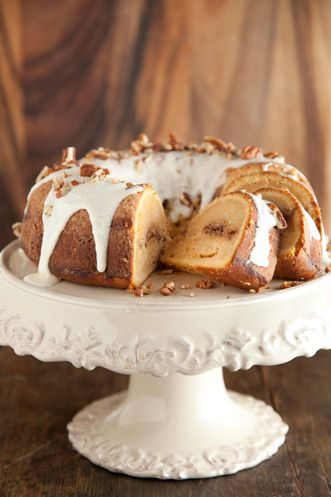 This is the best cake!! (I prefer it without the glaze)  Cinnamon Ripple Sweet Potato Cake from Paula Deen. Yum!