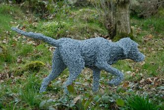 Hunting Hound, galvanised wire sculpture. Private commission