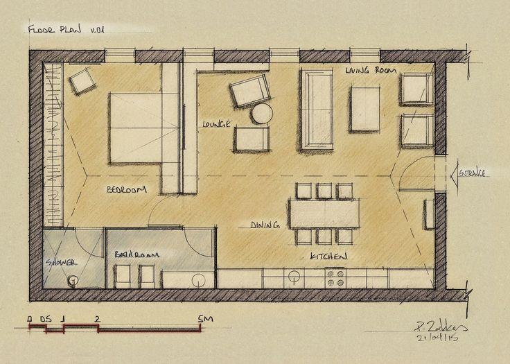 Loft Apartment 75 sqm, Floor Plan, Version 01 - www.pzarch.gr