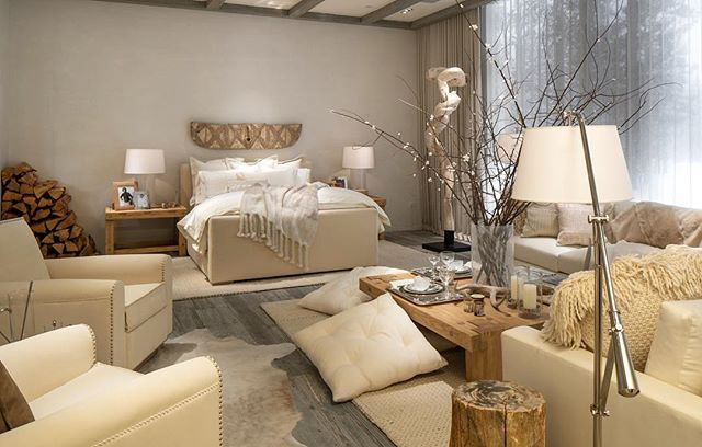 A palette of cream and layers of cashmere, shearling, suede and hand-worked embroidery define the Modern Chalet collection from @RalphLaurenHome, as seen in our new Beverly Hills flagship store.