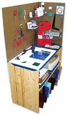 Ideas for Setting Up Your Stained Glass Workshop-  I would love to figure out a way where each and every stained glass sheet could be visible, but I have no idea what that would look like.  What I like about this space here is that it is nice and compact.  Great for those of us working out of our (gasp!) kitchen.  Well, breakfast area technically.