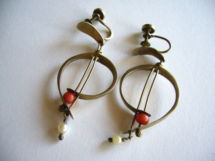 Walker-Navar Handmade Modernist Coral + Pearl Earrings ca. 1950