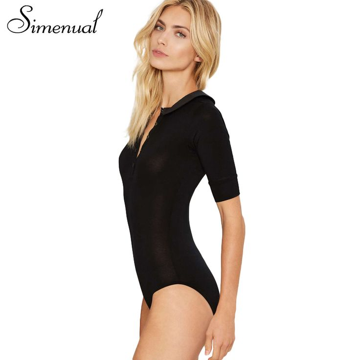 Simenual 2017 Summer bodysuit women elegant jumpsuits fashion slim sexy hot fitness bodysuits black button female body rompers