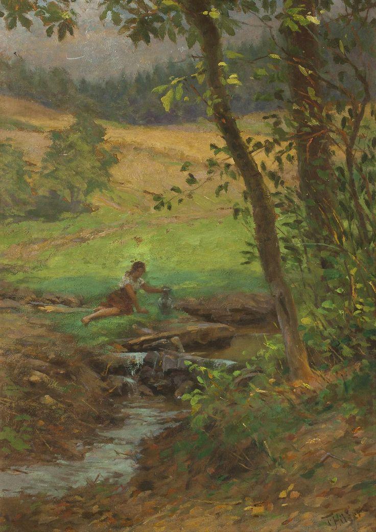 Theodor Hilšer (1866 - 1930)  Girl by a Stream