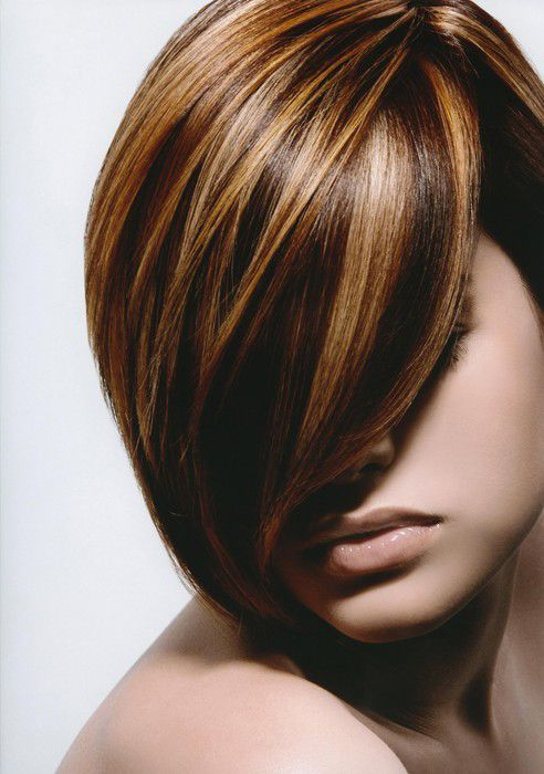 Brown hair with Multicolored Blonde Highlights.  Might have to try.