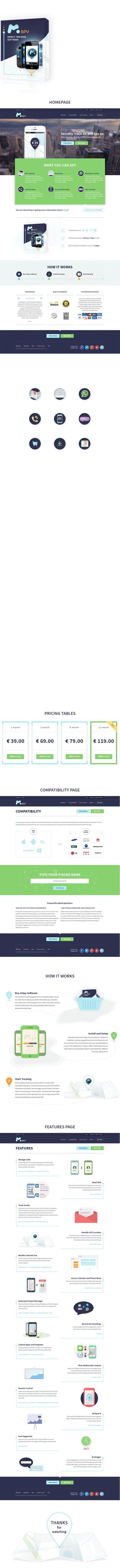 mSpy - flat corporate website by Olia Gozha, via Behance