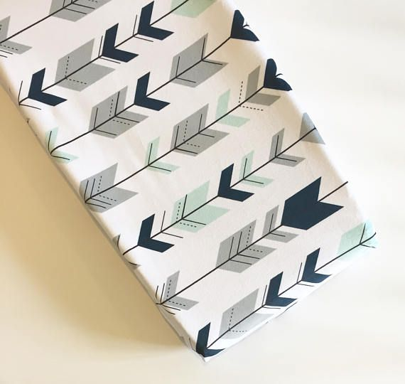 Navy mint gray arrows changing pad cover  | minky change pad | tribal woodland | boy nursery ideas | navy gray mint nursery | Wilder and Bean