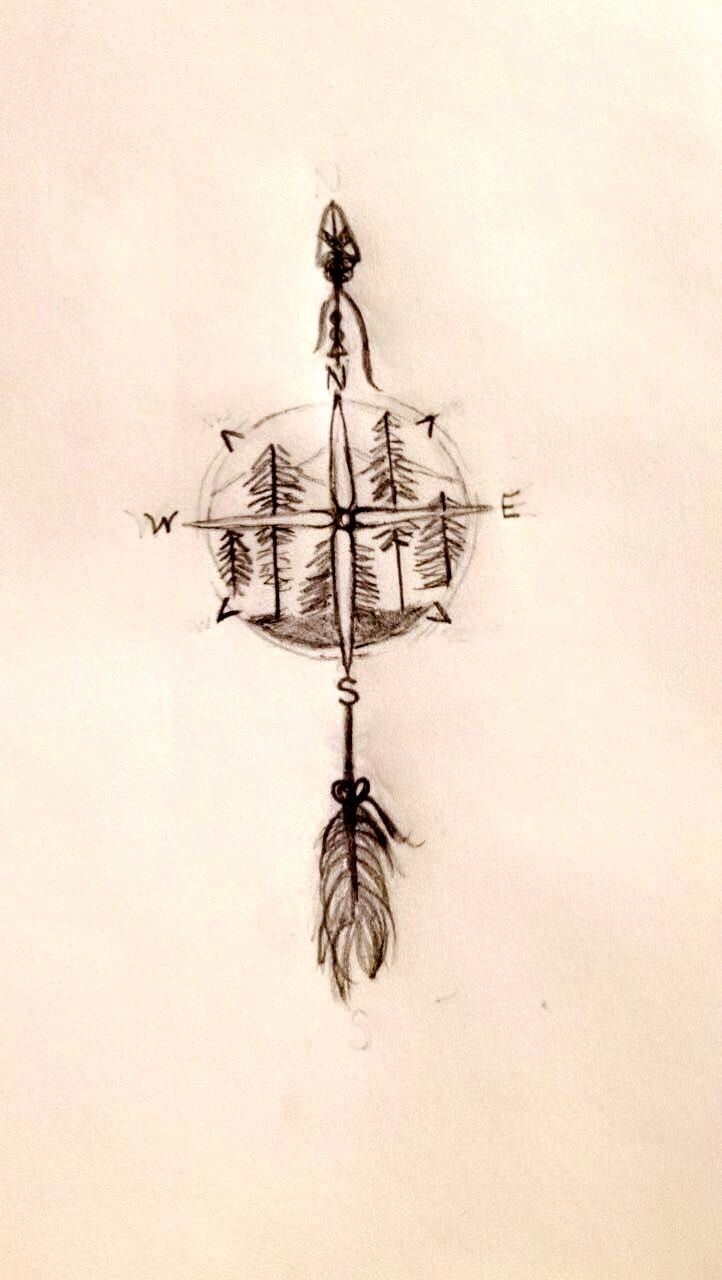 I drew this as a variation of another tattoo I liked. This one features a more detailed arrow, mountains, and the NESW. It's not perfectly symmetrical but you get the idea.