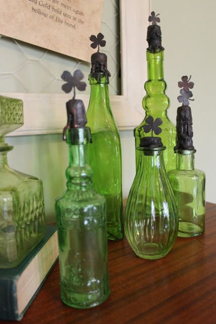 St. Patricks Day bottles...could also do this with Perrier bottles!: Easy Soldering, Decor Ideas, Crafts Ideas, Perrier Bottle, Diy St., St. Patrick'S Day, Holidays Ideas, Green Glasses, Patrick'S Decor