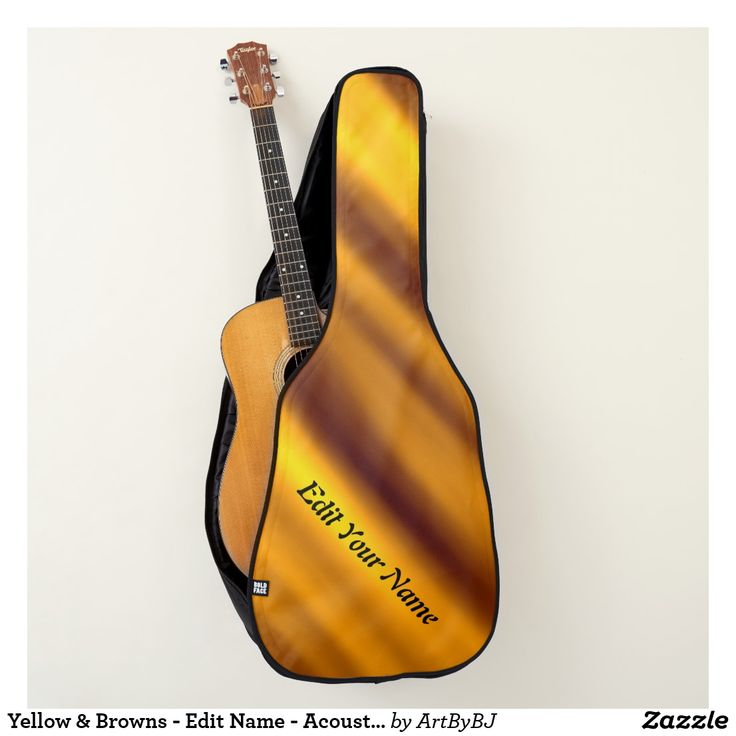 Yellow & Browns - Edit Name - Acoustic or Electric Guitar Case  -   - A Wonderful Christmas Present or Birthday Gift for ANY Guitar Player - order it as an Electric Guitar Case or an Acoustic Guitar Case. . . .   2 pockets, Handle and Back-Pack Style Straps as well, . . .   AND SWAP-ABLE   front designs. -  Visit to See all the details and LOTS MORE!