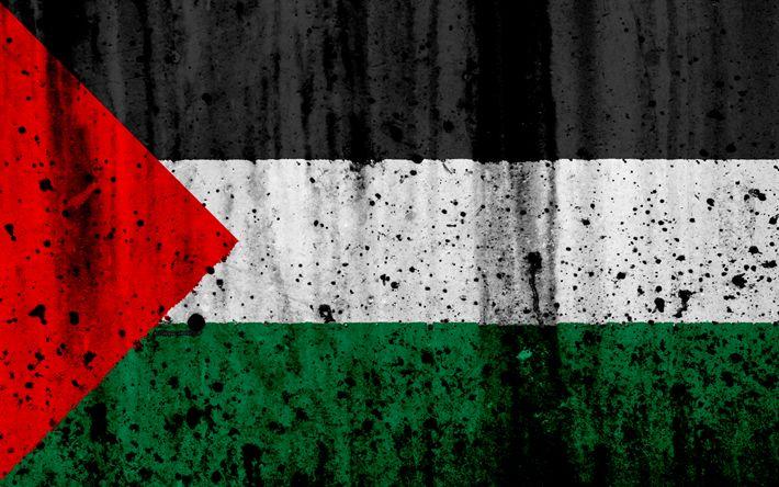تحميل خلفيات العلم الفلسطيني, 4k, الجرونج, علم فلسطين, آسيا, فلسطين, الرموز الوطنية, Palestinenational العلم