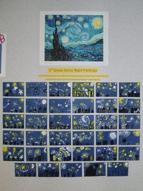 En esta clase de 3º la profesora les estaba enseñando la obra de la noche estrellada de Van Gogh. Un vez explicada la obra la profesora les ha facilitado una cartulina azul oscura donde tenían que dibujar una noche estrellada vista desde donde ellos viven, poniendo sus edificios característicos de la zona que viven, etc.