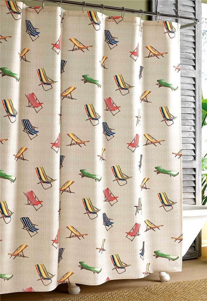 Tommy Bahama Beach Chair Shower Curtain Poly Fabric Tropical Coastal Bath Decor