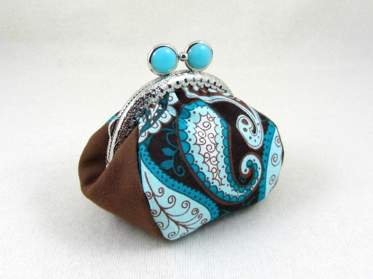 Paisley coin purse, handmade coin pouch, change purse, metal frame purse, paisley cotton pouch, blue and brown purse by JRsbags on Etsy