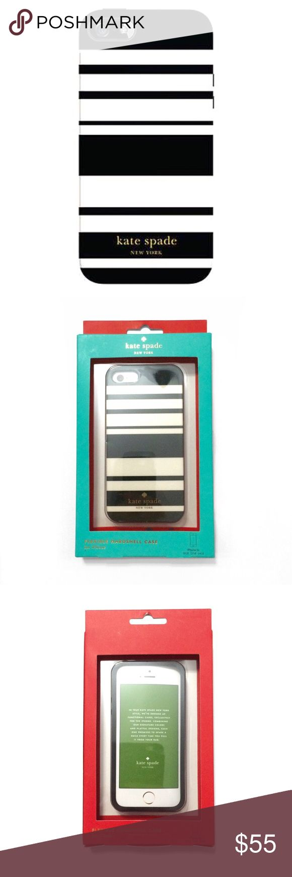 Kate Spade Stripe iPhone SE 5/5S Case BNIB  Flexible hardshell case. This fits the new iPhone SE and the iPhone 5 and 5S. The exterior packaging may have some imperfections, but any damage to the box does not affect the product at all.  ❌ Sorry, no trades. kate spade Accessories Phone Cases