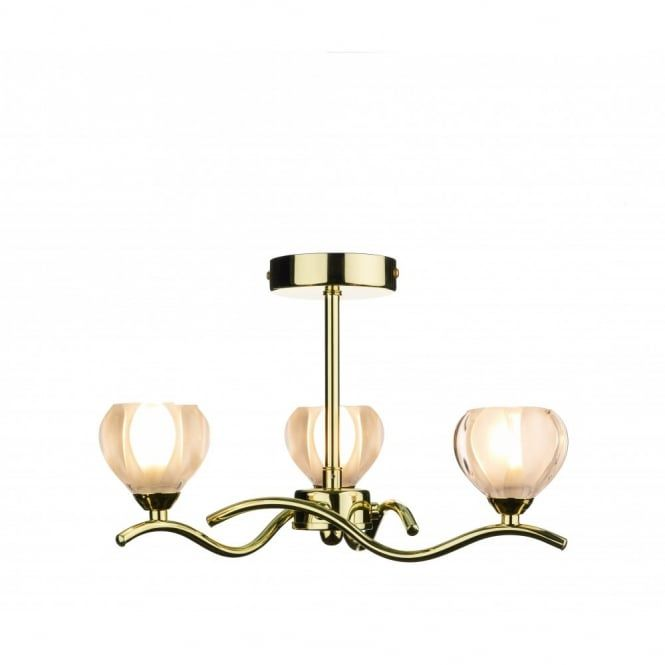 Cynthia semi-flush ceiling light in a polished brass or gold coloured finish. A 3 light ceiling fitting that is a good choice of light for a lower ceiling. The light is fixed to the ceiling on a polished brass/gold rose and supported on a short rod suspension. The 3 upward facing halogen lights radiate from the centre of the light on wavy polished brass/gold arms. The halogen capsule bulbs provide 120 watts of sparkly light and the bulbs are hidden inside the opal glass shades. A simply…