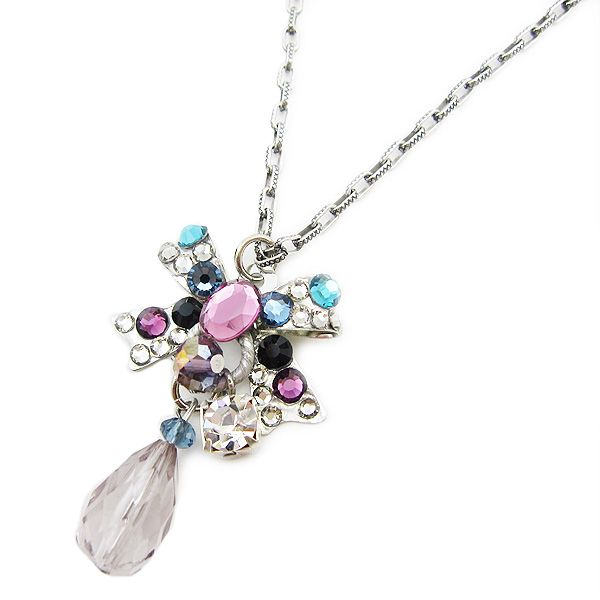 【ABISTE】スワロリボンモチーフショートネックレス/パープル http://www.myjewelbox.abiste.jp/products/detail13087.html