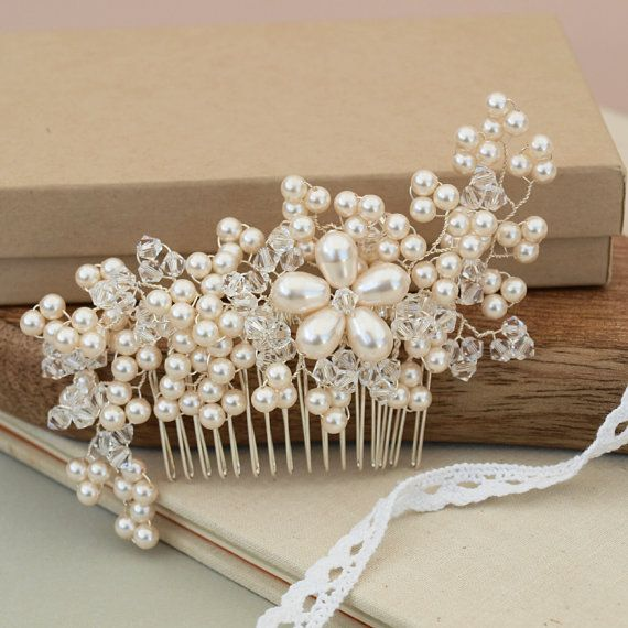 Maya Pearl Hair Comb Floral Crystal Flower Wedding Headdress Handmade Bridal Ivory Pearls Silver Hair Accessories Bridesmaid Hair Comb