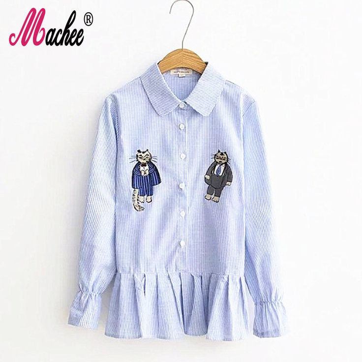 2017 Top Selling High Quality Fashion Spring Women Blouse Two Cats Embroidery Cotton Long Sleeve Work Office Tops Stripe Shirts