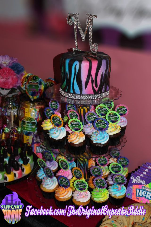 Rainbow Zebra mini cake & cupcake tower display