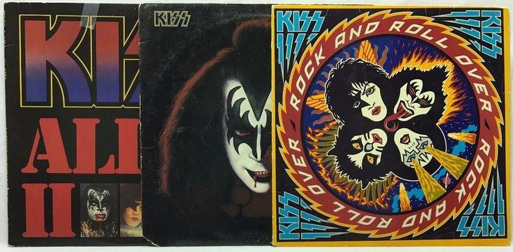 Kiss LP Vinyl Record Lot Rock n Roll + Gene Simmons (Self Titled) + Alive II +45