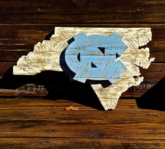 Handcrafted from pallet wood. State of North Carolina with University of North Carolina (UNC) logo. Dimensions: 12 (h) x 21 (w) but let me know