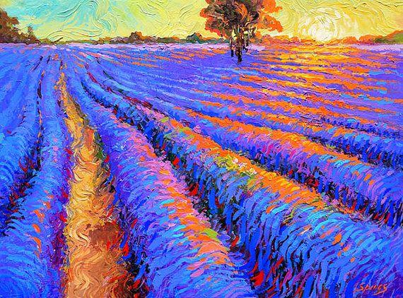 Schilderen - avond Lavendel veld — home decor, -Dmitry Spiros muur kunst, wand…