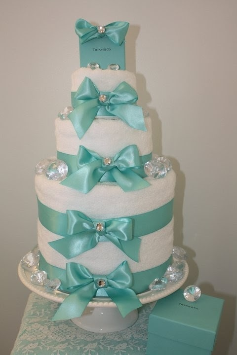 tiffany bridal shower towel cake love the diamonds and the sparkles.