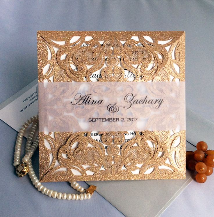 golden wedding invitations%0A V   Personalized elegant laser cut gate folding rose gold glitter lace  vellum belly band gold Wedding