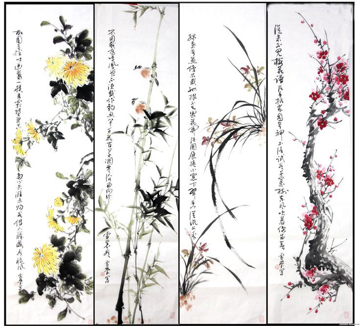 "The Four Gentlemen (四君子), also called the Four Noble Ones, in Chinese art refer to four plants: the plum (梅), the orchid (蘭), the bamboo (竹), and the chrysanthemum (菊). The term matches the four plants with junzi (君子), or ""gentlemen"" in Confucianism. They are common subjects in traditional ink and wash painting, belonging to the category of bird-and-flower painting in Chinese art."