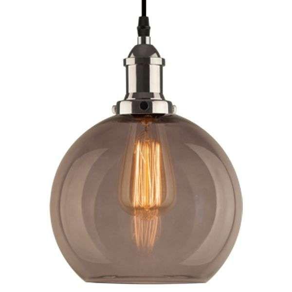 Wisząca LAMPA vintage NEW YORK LOFT NO. 2 SCH LA035/P_ smoky _chrom Altavola szklana OPRAWA zwis kula ball przydymiona