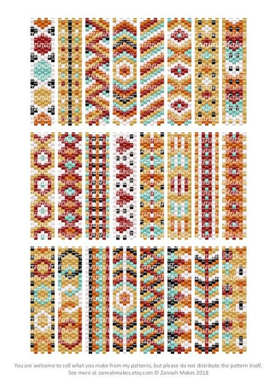 Carrier Bead Patterns, Odd Count Peyote, Six-Colour Patterns, Full Word Charts, Colourway 2