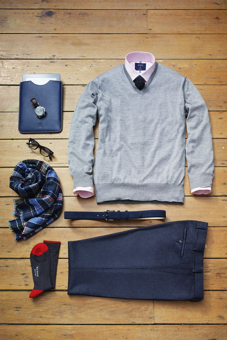 To accessorise like a sartorial God without going overboard, add a pop of colour to staple cold weather greys and blues this winter. All these handsome separates are in store.   www.mjbale.com
