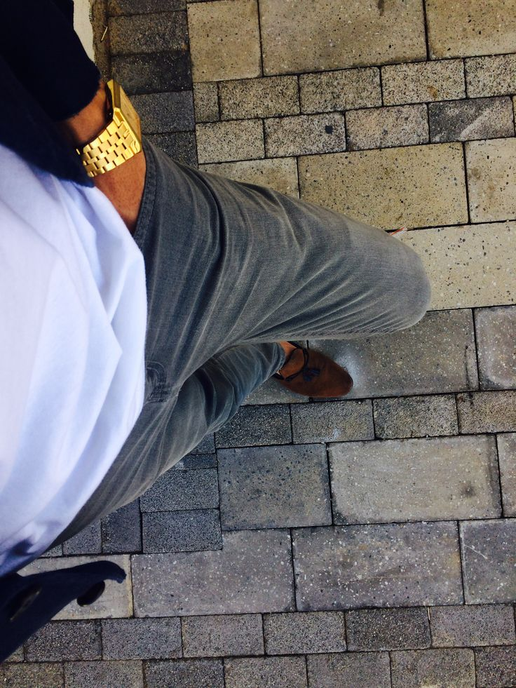 Gold watch, Grey denims, white tee, Navy blazer and Tan & navy suede loafer👌🏽