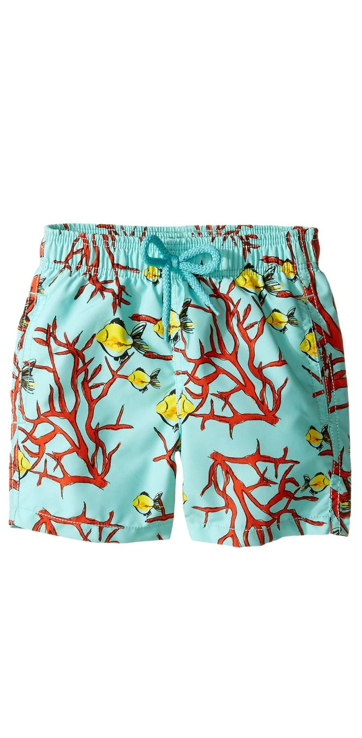 Oceans of fun!  Let your boy dive into delight wearing the #Vilebrequin #Kids #Coral and #Fish #Swim #Bottom.  #swimwear #trunks #boys #child #children #childrenswear