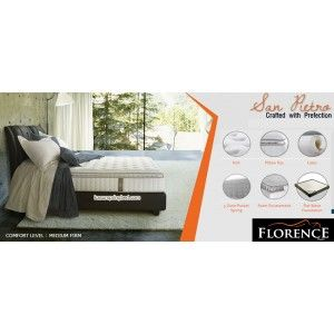 SAN PIETRO Florence Spring Bed SERI : Modern Living Mattress thickness : 30.5 cm Headboard : CONCERTO tinggi 120 cm Foundation CONCERTO : 24 cm Comfort Level : MEDIUM FIRM - See more at: http://www.kasurspringbed.com/florence-springbed/573-san-pietro-florence-spring-bed.html