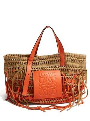 63a98e87a Woven-leather and suede tote   Loewe   MATCHESFASHION.COM UK   Beach ...