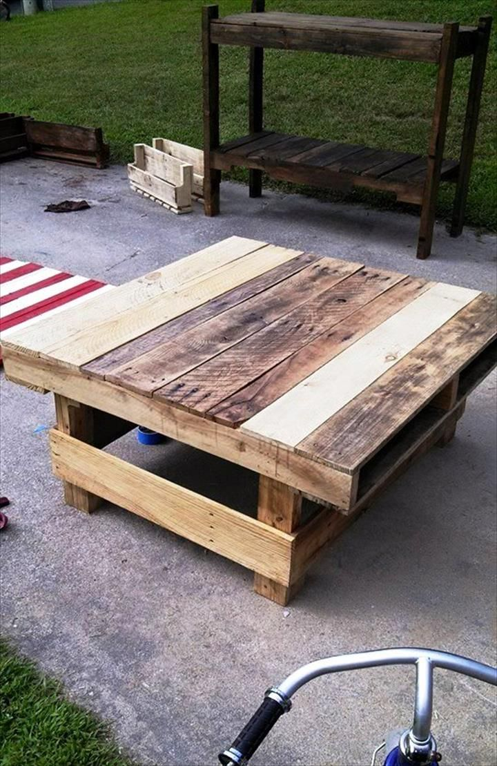 Diy pallet sofa with table 99 pallets - Rustic Inspired Pallet Furniture Ideas Projects