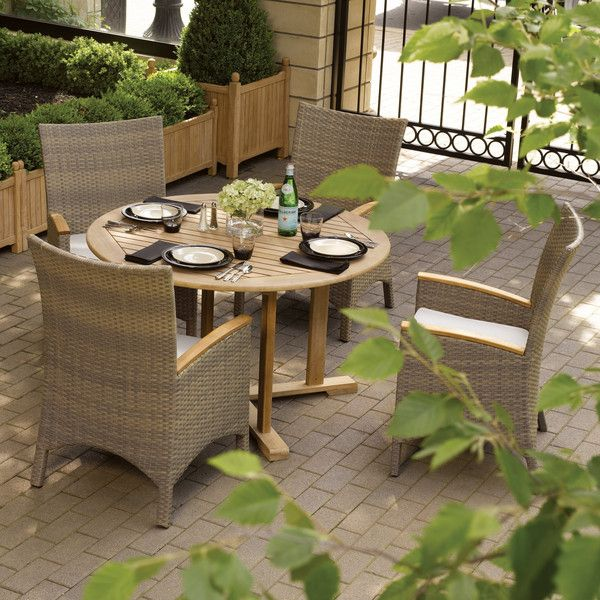 Oxford Garden 5-piece Set 48-inch Round Dining Table with Torbay... (9.125 RON) ❤ liked on Polyvore featuring home, outdoors, patio furniture, outdoor patio sets, beige, garden furniture, garden patio furniture, oversized patio furniture, cream armchair and beige armchair