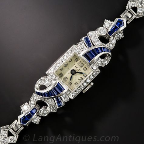 Art Deco Diamond and Sapphire Bracelet Watch