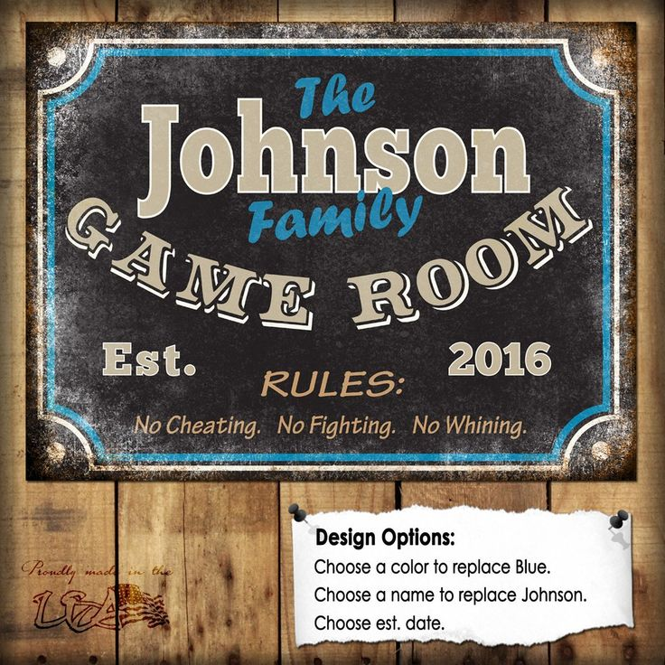 "Custom Family Game Room Sign // 1 Metal Sign // Size - 12"" x 16"""