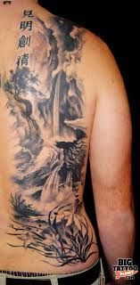 black and grey waterfall tattoos - Google Search
