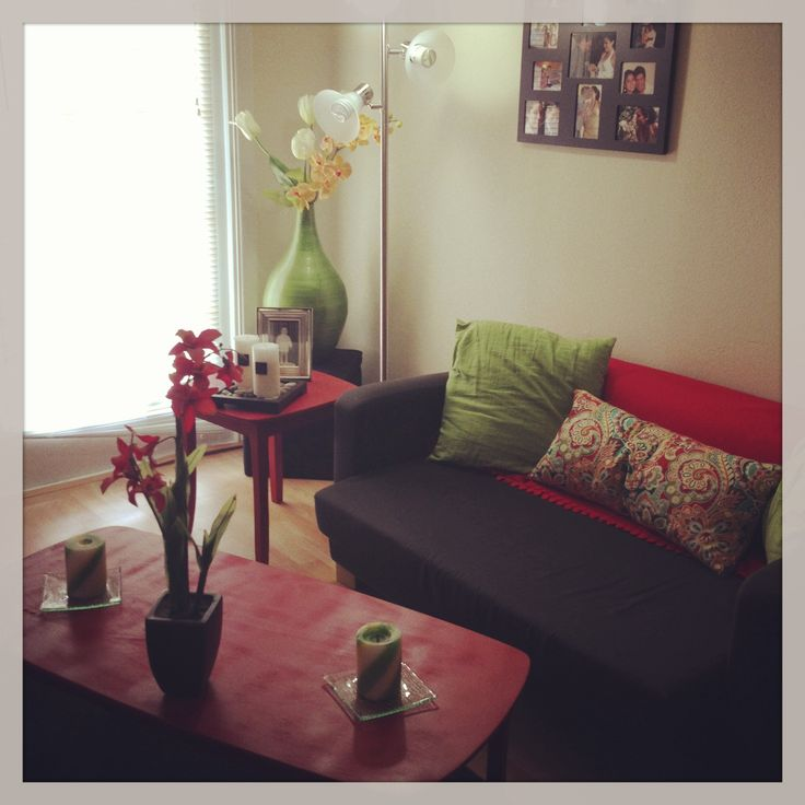 Painted furniture red for small apartment decorating on a budget