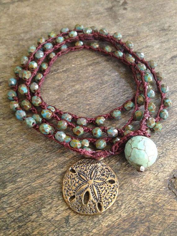 Sand Dollar Multi Wrap Crochet Bracelet, Anklet, Necklace Beach Chic $32.00 via Etsy