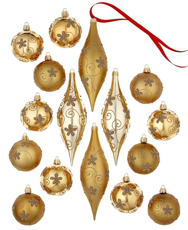 19 best holidays images on pinterest christmas deco for Small gold christmas ornaments