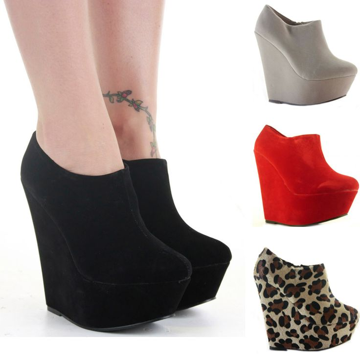 shoe booties   Ladies Wedge Shoes Zip Booties Wedges High Heel Platform Short Ankle ...