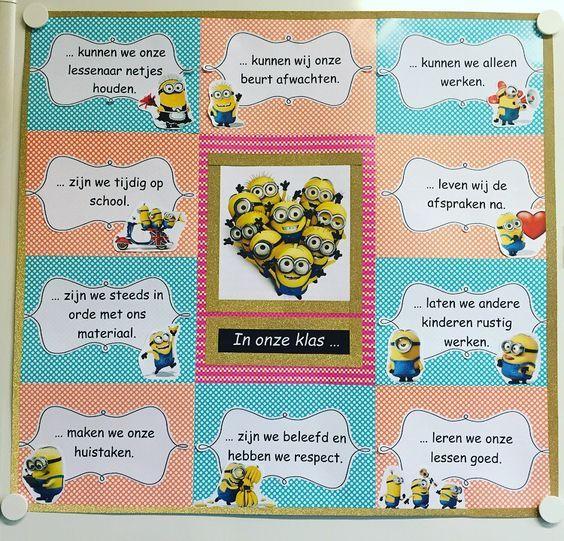 Klasafspraken / In onze klas... Regels om in de klas omhoog te hangen. Thema minions. - door Evelyne Dhaene: