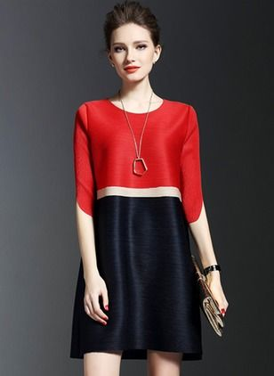 Polyester Color Block Half Sleeve Above Knee Casual Dresses (1012878) @ floryday.com