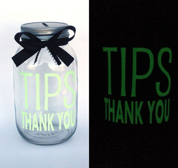 Glow In the Dark Tips Bank  Quart size Mason Jar by MyKindofKrafty Bartender Gifts, Uber Driver, Glow in the Dark Tips Jar