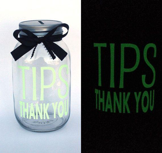 Glow In the Dark Tips Bank Quart size Mason Jar by MyKindofKrafty Bartender Gifts, Uber Driver, Glow in the Dark Tips Jar